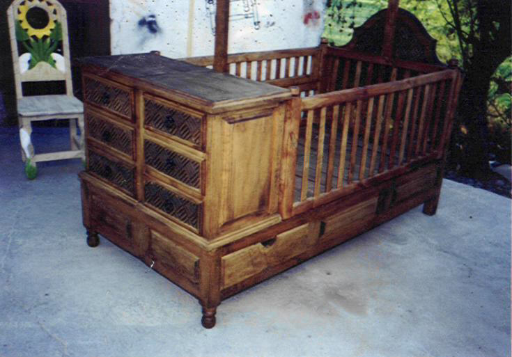 A crib that changes into a bed.